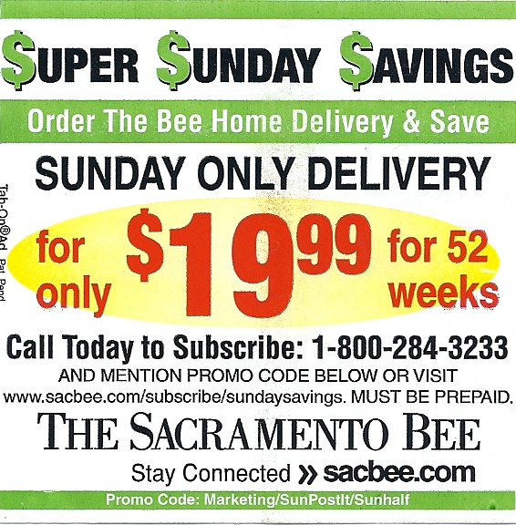 Sacramento Sunday Bee Coupon